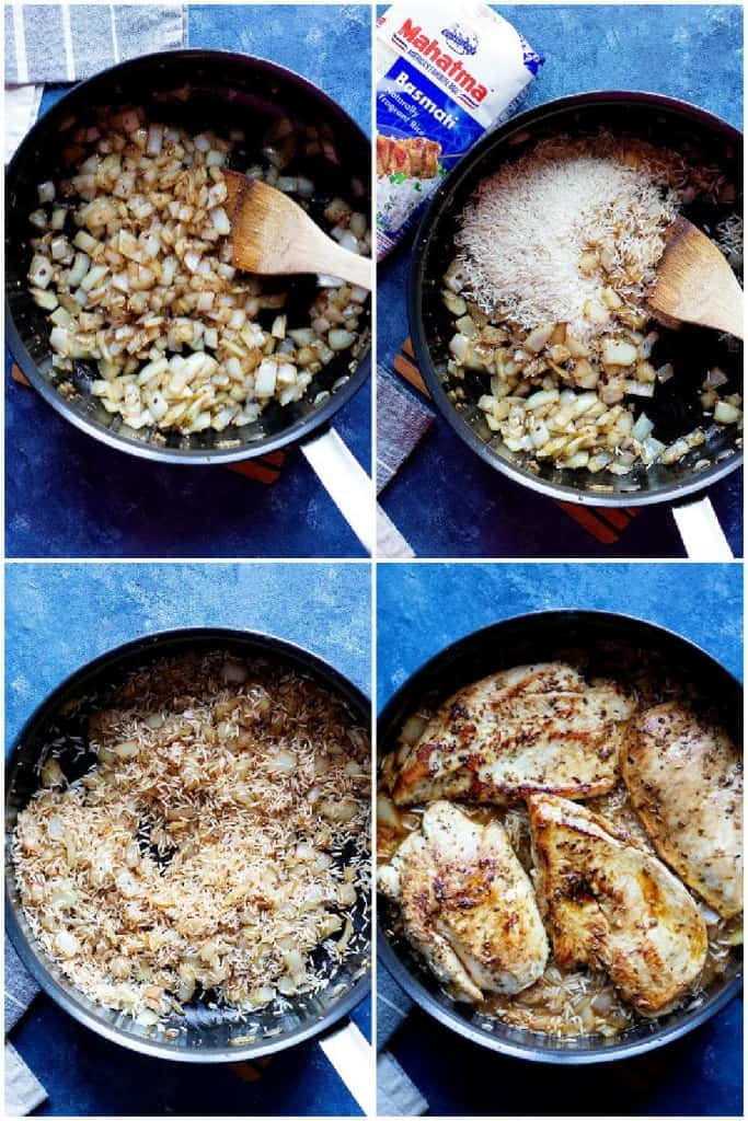 saute onion and garlic add rice and spices place the chicken and add water.