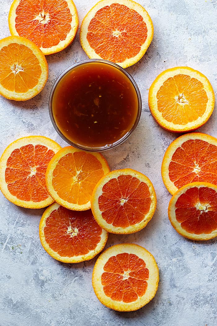 orange glaze made for seared salmon fillets.