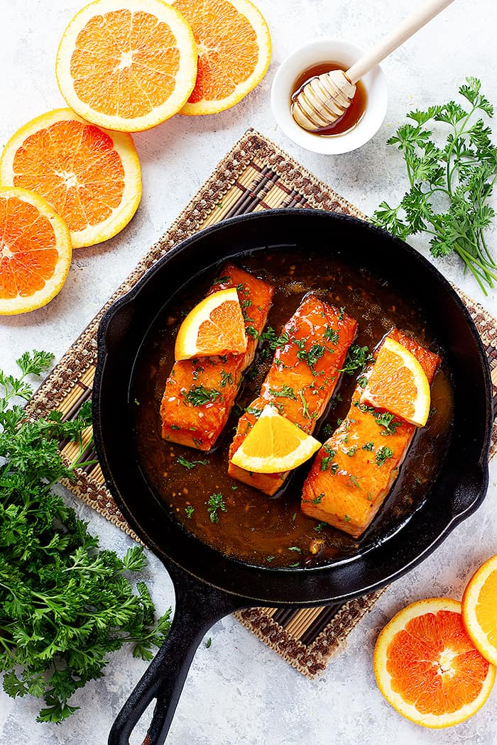 Pan seared glazed salmon fillets are perfect for dinner.