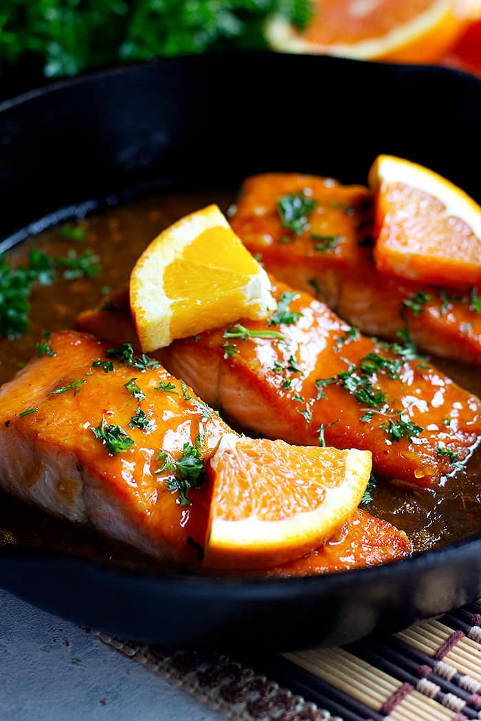 This is an easy orange glazed salmon recipe that's perfect for a weeknight dinner. Enjoy a delicious, crispy pan seared salmon cooked with a homemade orange glaze.