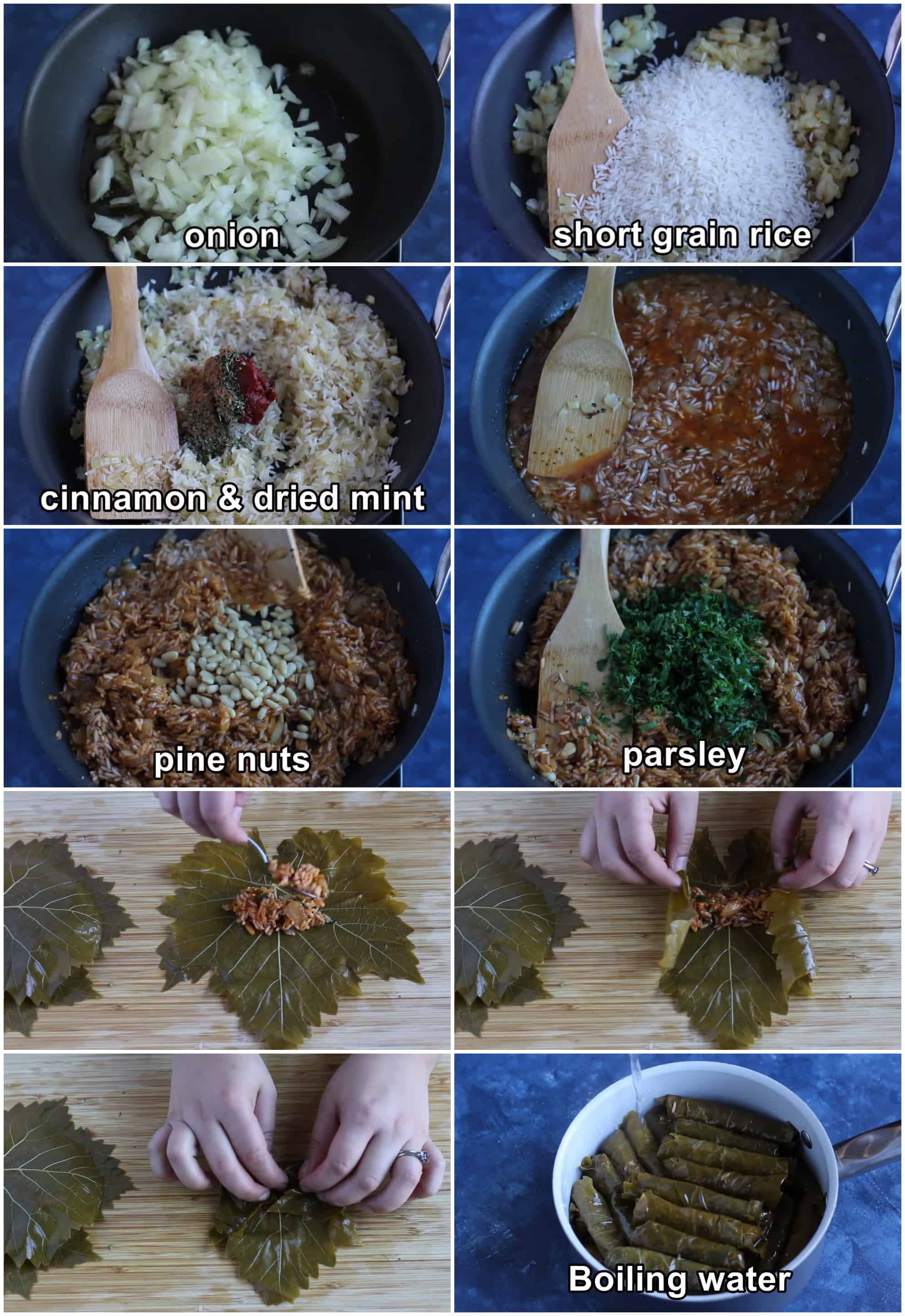 make the dolma filling by cooking onions and rice with spices and tomato paste. Add pine nuts and parsley then roll the dolmas. Cook with vegetable oil and water.