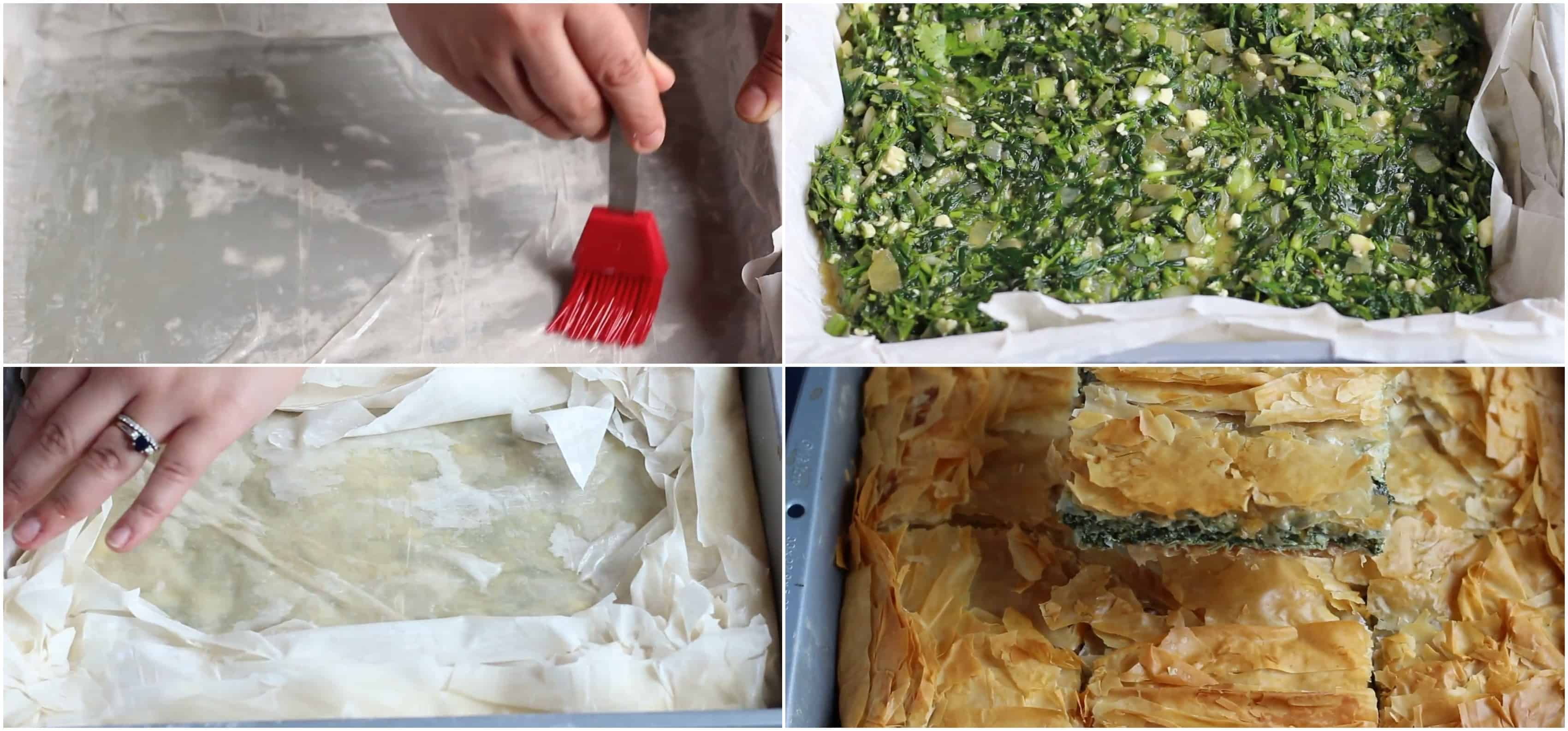 place phyllo dough add the spinach filling layer with phyllo and bake.