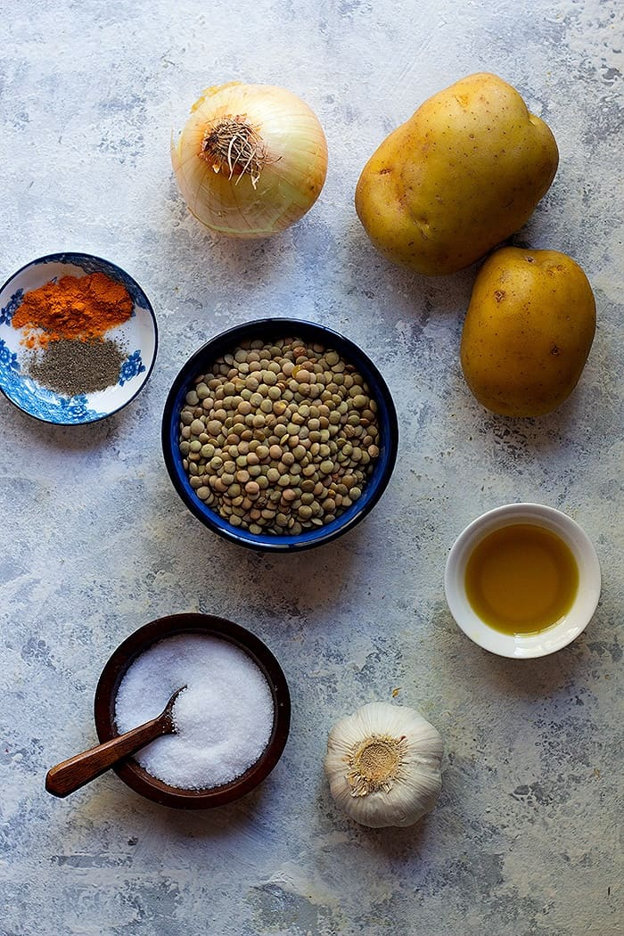 Ingrredients to this easy lentil soup recipe are lentils, potatoes, onion, garlic and spices.