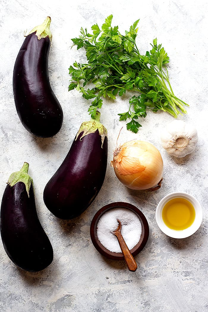 To make this recipe, you need eggplant, olive oil, onion, garlic, parsley, lemon juice, salt and pepper,