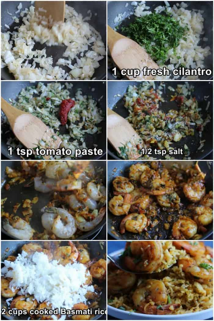 Suate onion and garlic add herbs and spices add the shrimp and cook then add the rice and stir to combine.