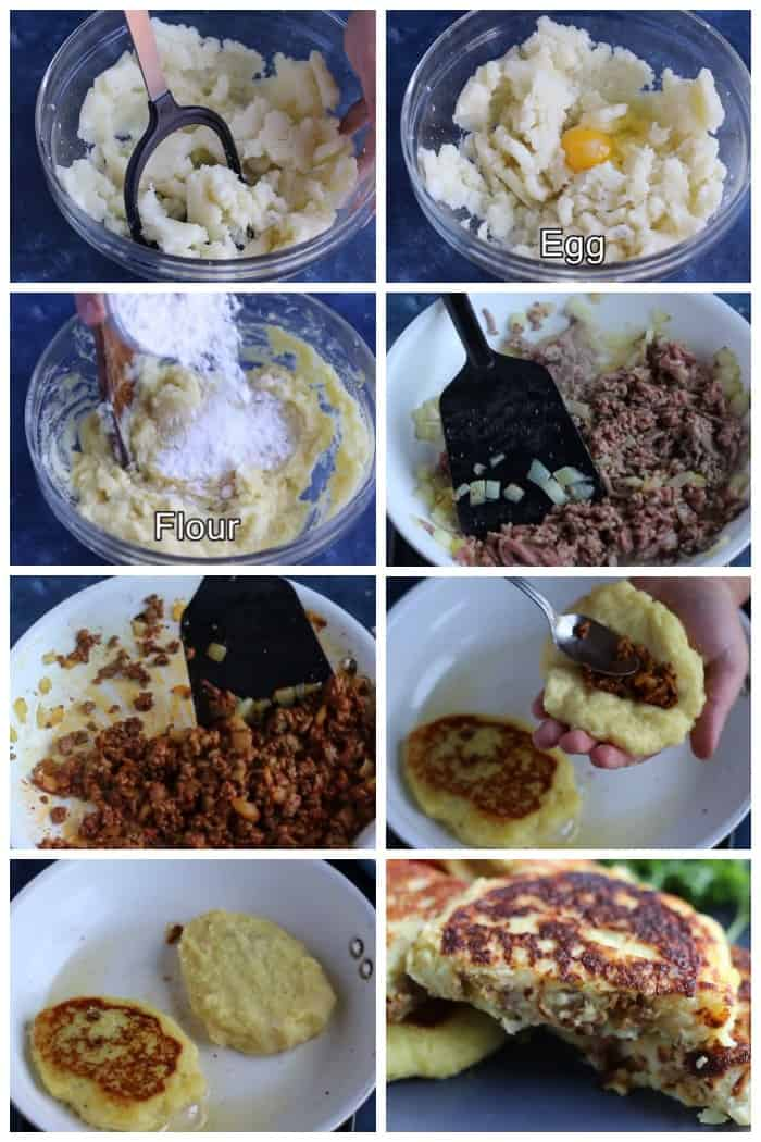 to make these patties, mash the potatoes add the eggs and flour and set aside. Make the beef mixture and add some to the middle of the patties, seal ad fry on both sides until cooked through.