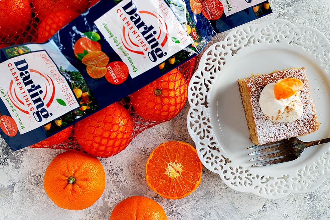 This spice cake is flavored with clementines.