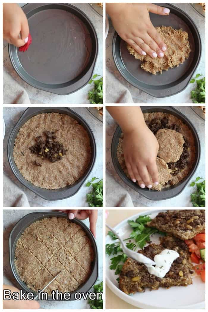 To make baked kibbeh, Coat the bottom of the pan with vegetable oil then spread some of the dough. Top with the filling and spread some more dough. Cut into diamonds and bake until fully cooked. Serve with yogurt sauce.