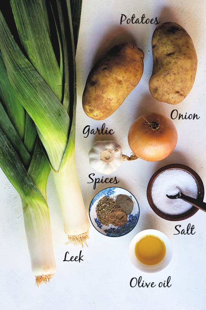 To make this soup you need olive oil, onion and garlic, leek, potatoes, spices and vegetable stock.