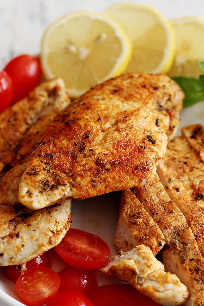 This chicken is juicy and very flavorful. You can make wraps or salads with it.