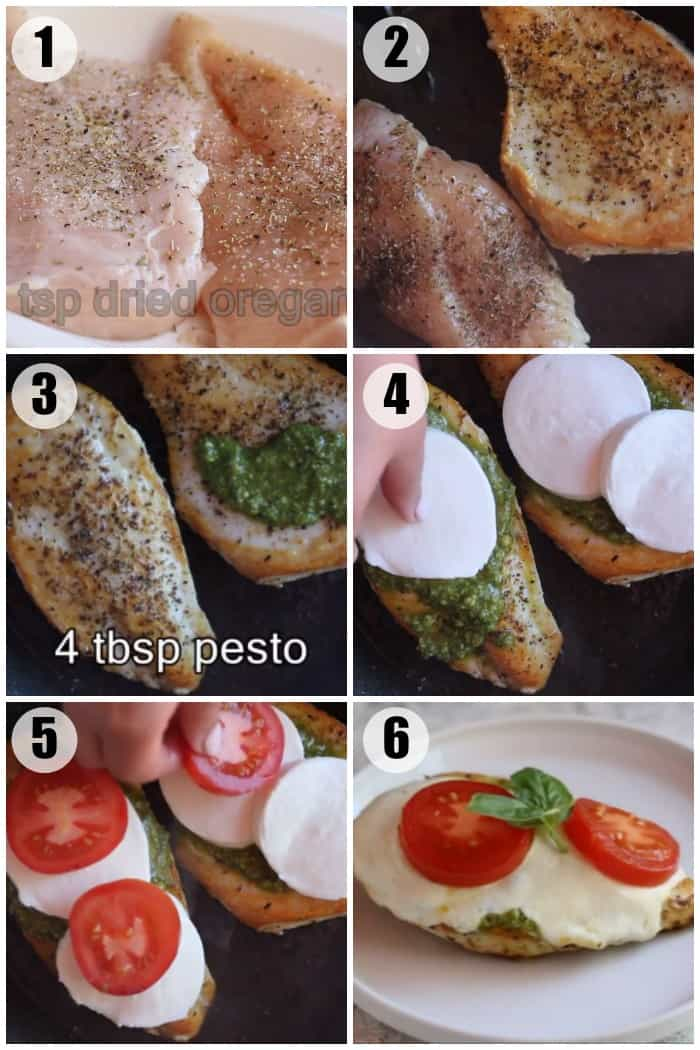 Season the chicken breast with salt, pepper and oregano. Sear on both sides until golden. Spread pesto on the chicken and top with mozzarella cheese and tomato. Cover and let the cheese melt.