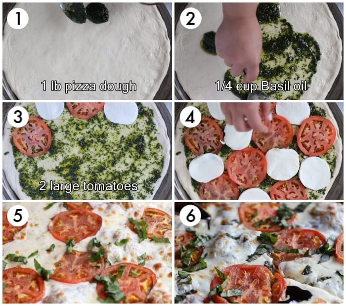 spread the pizza dough, brush with basil oil and top with tomatoes and mozzarella cheese. Bake in the oven until cheese is melted and dough is cooked.