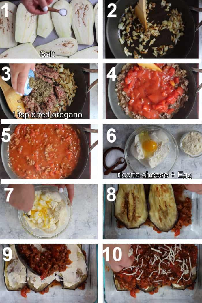 To make this recipe, salt and roast the eggplant, then make a meat sauce with ground beef, onions, spices and tomatoes. Assemble the lasagna using a ricotta and egg mixture and bake in the oven.