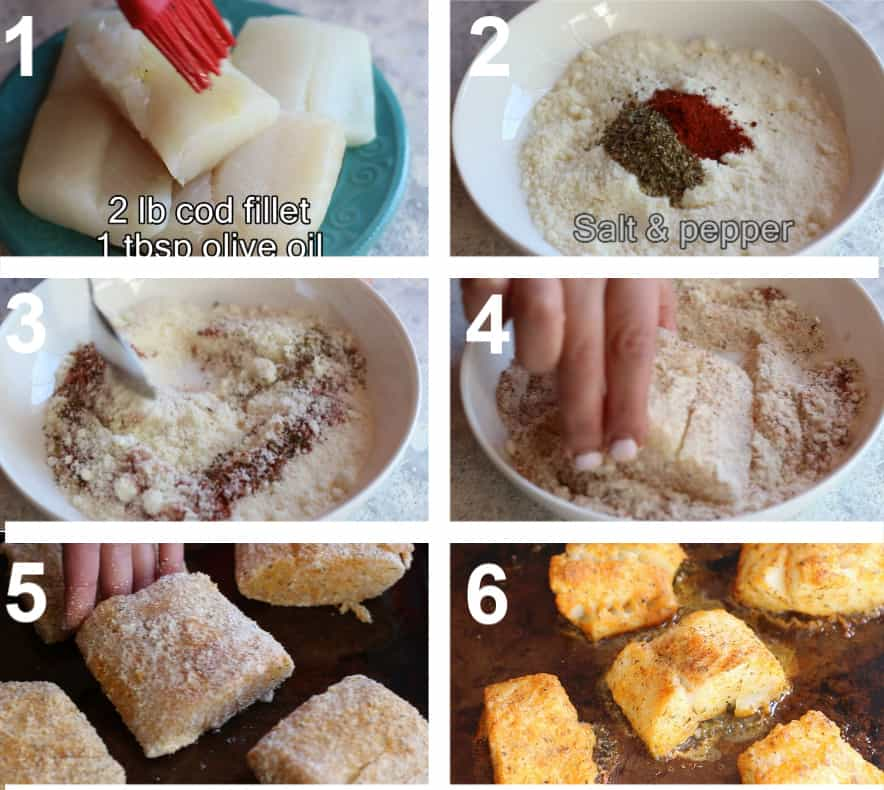 Brush the cod with olive oil. In a bowl mix parmesan with paprika and oregano. Dredge the cod in parmesan and bake in the oven.