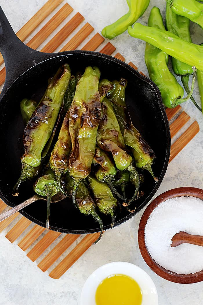 These peppers are best served hot off the cast iron.
