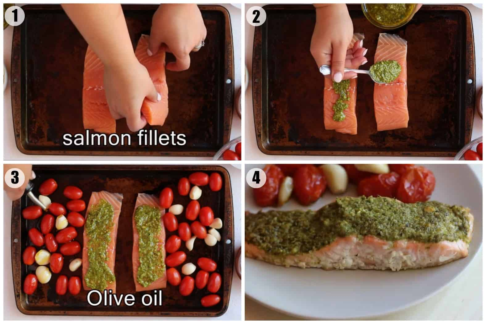 Place the salmon on the baking sheet and top with pesto. Cook with tomatoes and garlic.