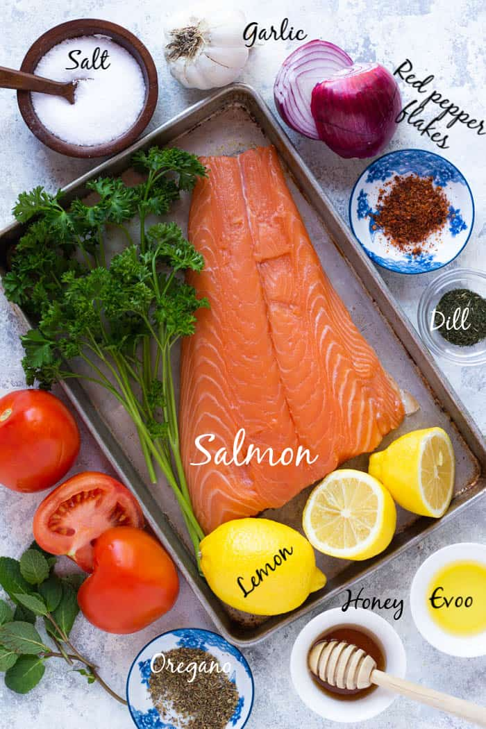 to make salmon marinade you need salmon, lemon juice, olive oil, garlic, spices and herbs.
