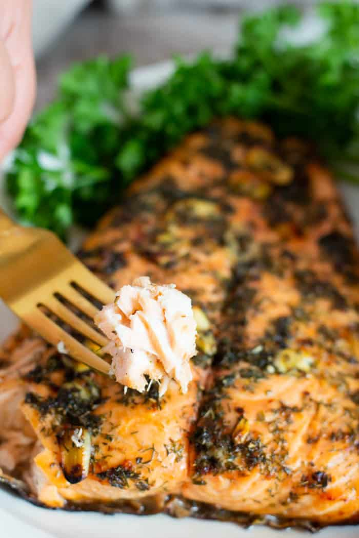 Flaky salmon made with an easy and healthy marinade.