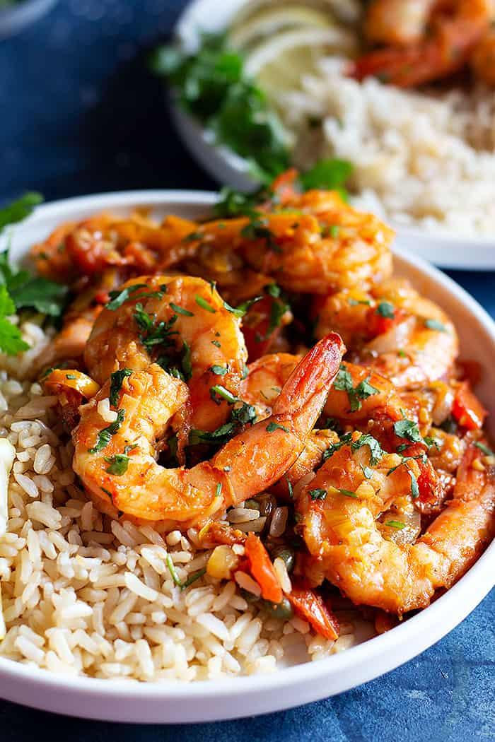 Close up Mediterranean shrimp with brown rice.