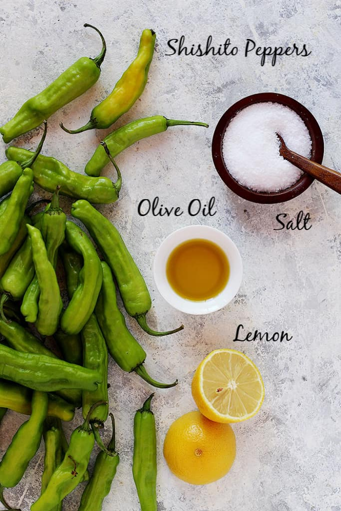 To make this recipe you need shishito peppers, olive oil, salt and lemon juice.