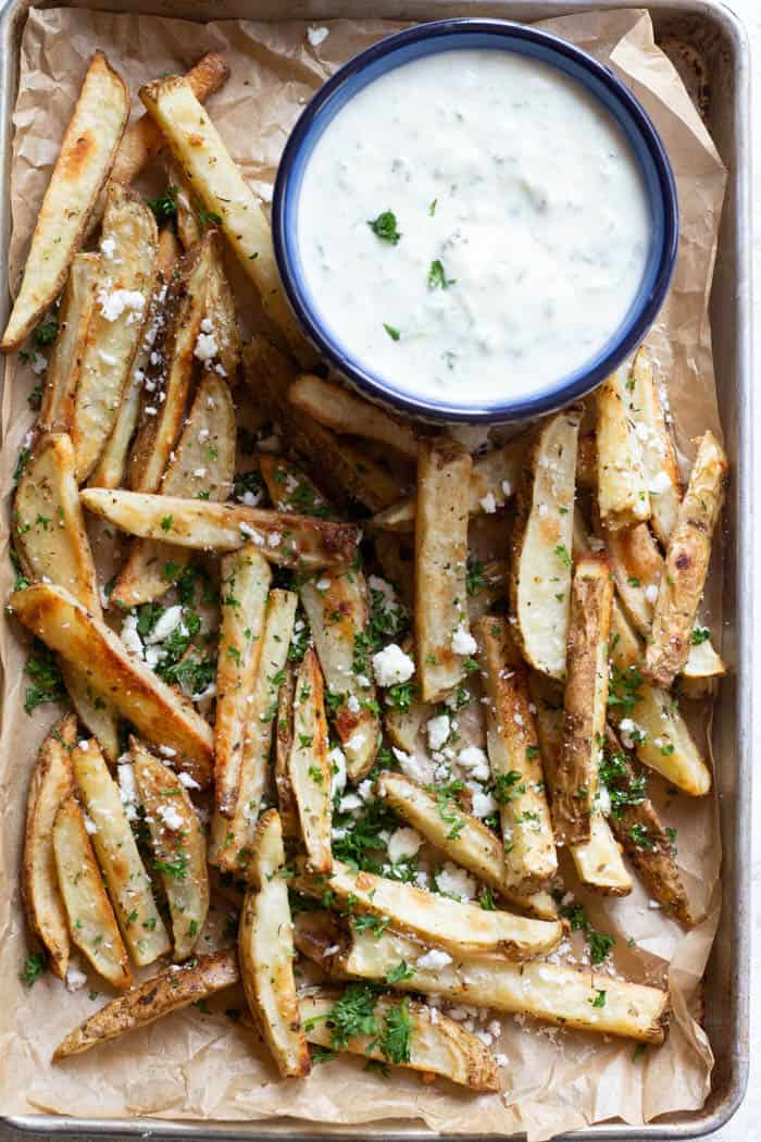 These are the best Greek fries ever, topped with feta cheese and parsley.