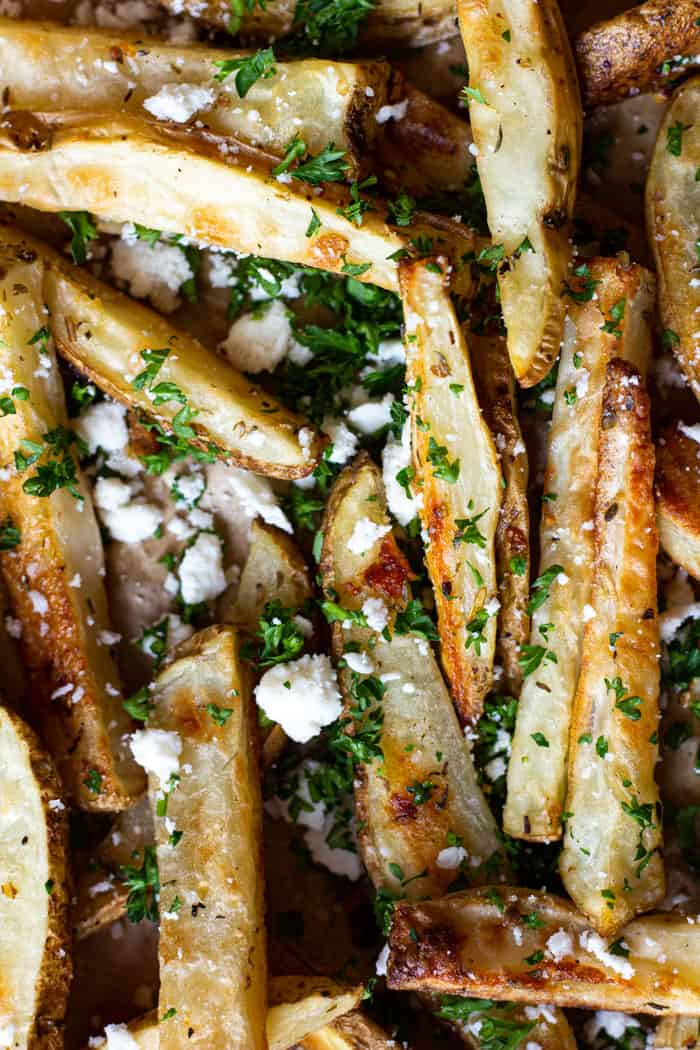 Greek oven baked fries are the perfect side dish to Mediterranean meals!