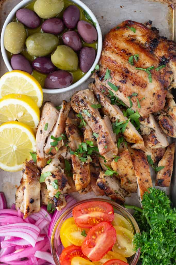 Marinated chicken can be grilled or seared in a pan.