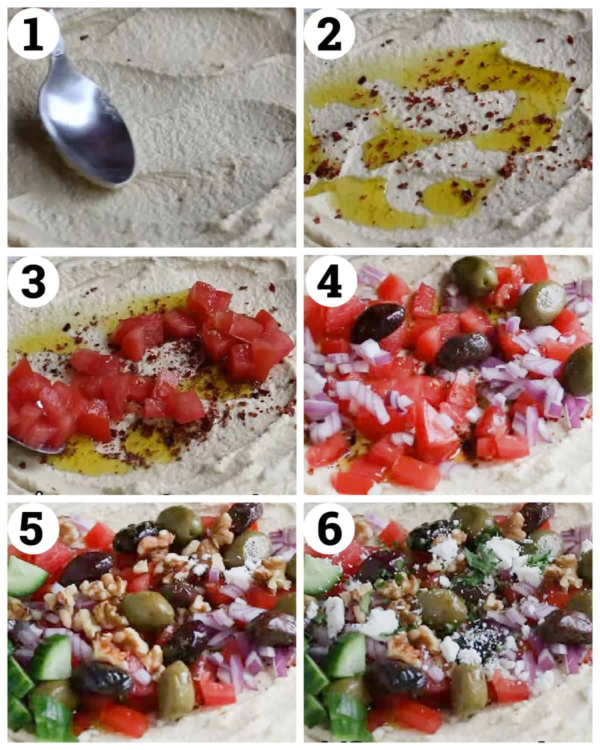 spread the hummus on the platter add evoo and spices top with vegetables.