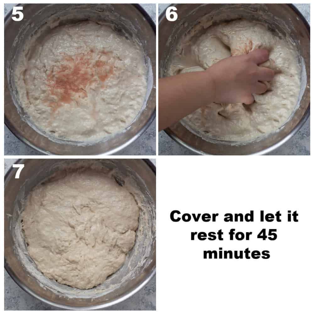 Add salt and water. mix and let it sit for 45 minutes.