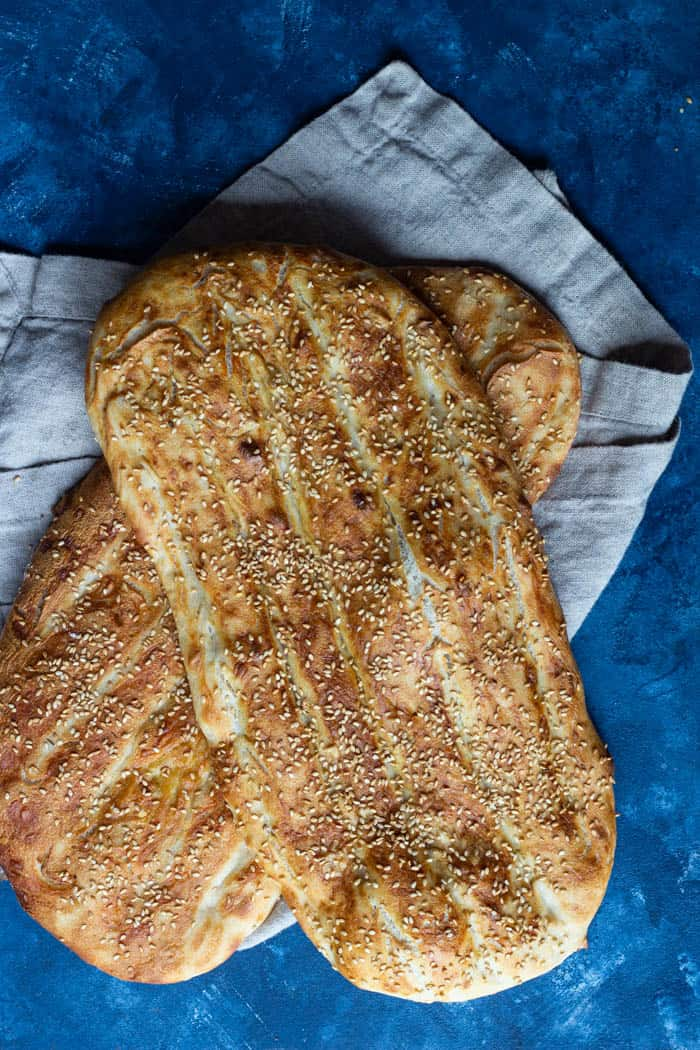 This recipe yields two loaves of barbari.