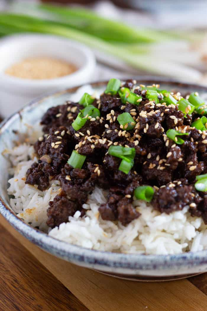 Korean beef and rice is an easy family favorite recipe that comes together in 20 minutes.