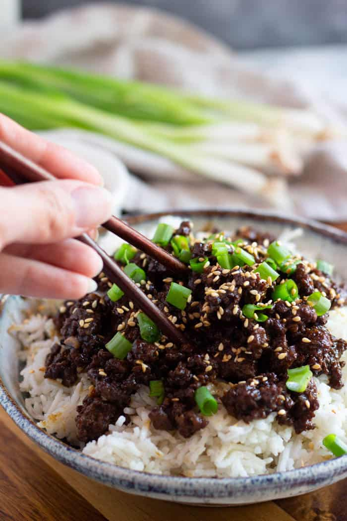 Serve Korean beef over Jasmine rice and have a full meal in no time.
