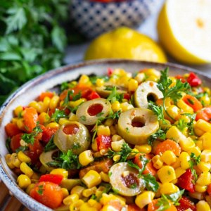 This is an easy corn salad with a Mediterranean twist.
