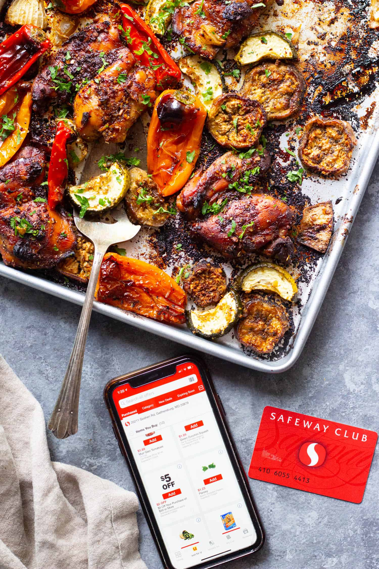 Everything is baked in one sheet pan for this recipe.