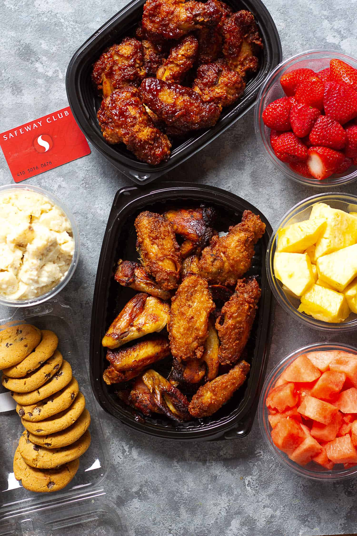 I got the wings, fruit, chocolate chips and potato salad from my local Safeway.