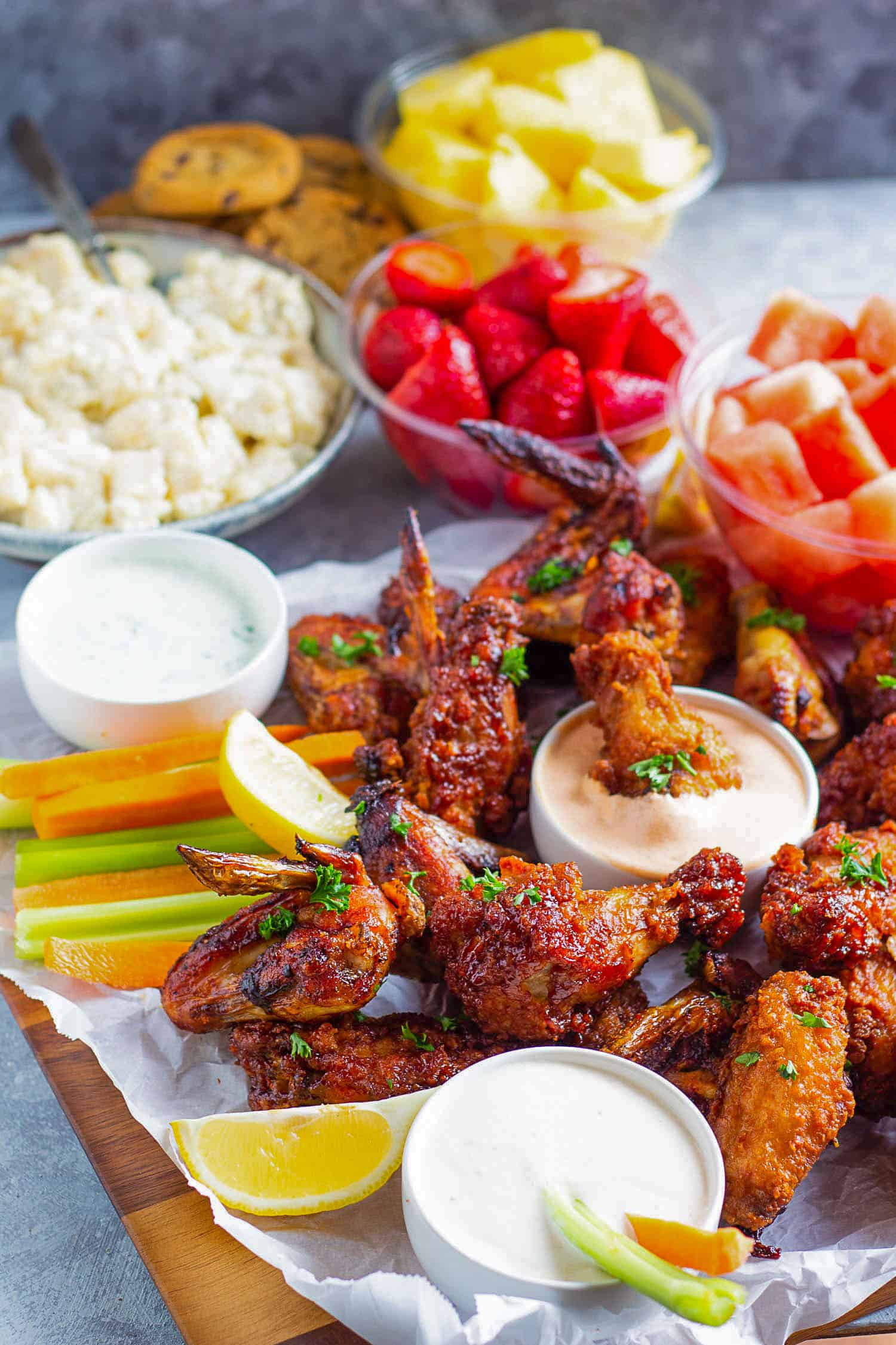 Dip the wings in the smoked paprika aioli dipping sauce.