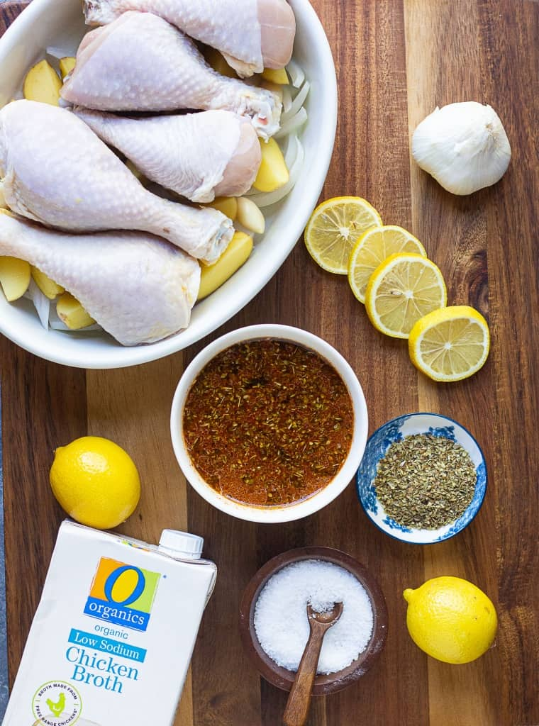 Mix olive oil, lemon juice, broth and spices and pour over the chicken.