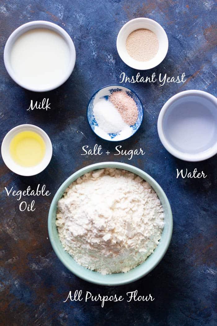 For lavash bread recipe we need water, milk, yeast, sugar, salt, vegetable oil and all purpose flour.