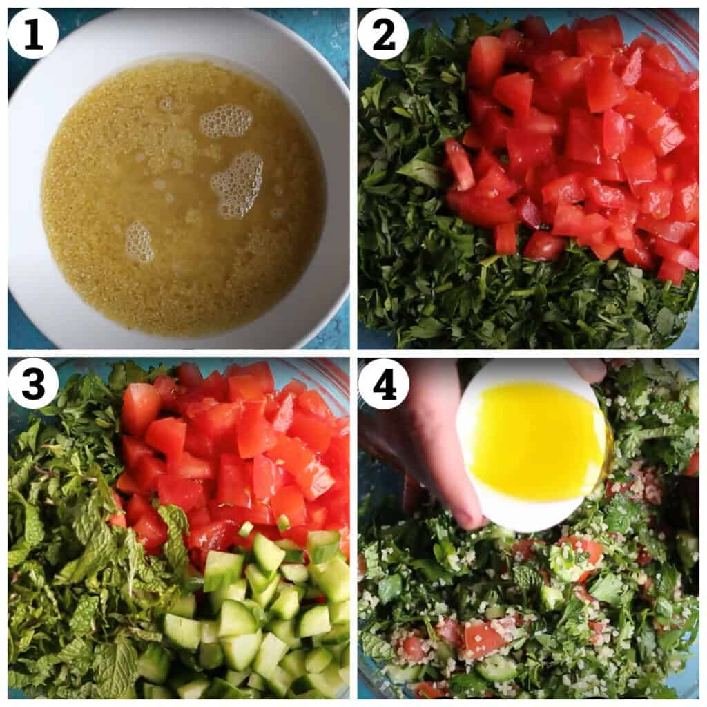 soak the bulgur in water, add the herbs and tomatoes. add the dressing.