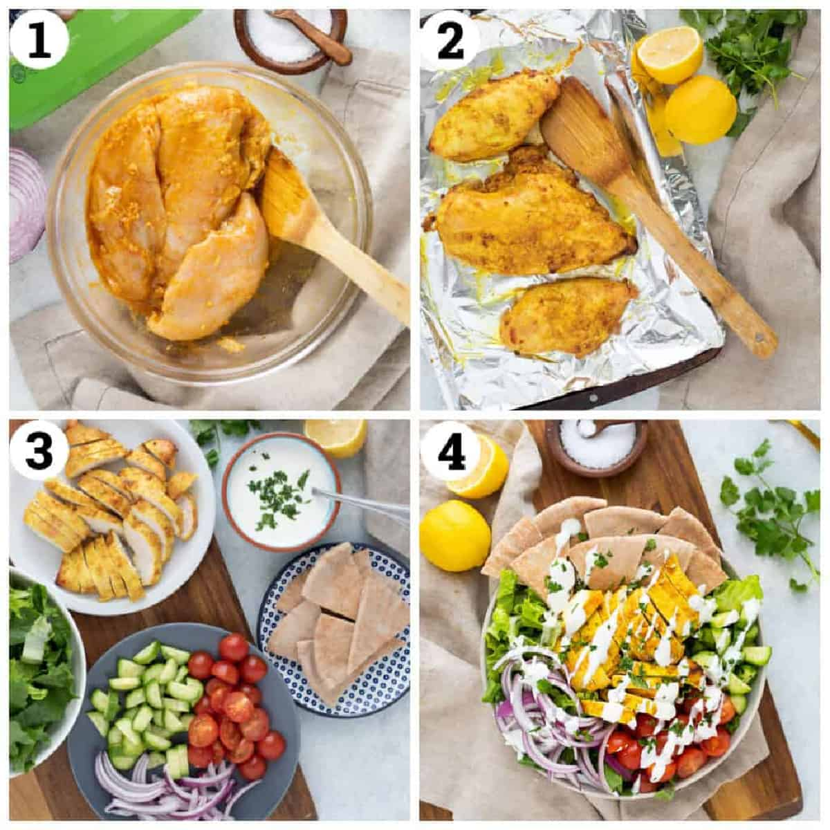 marinate the chicken in the spices and olive oil. Bake in the oven, slice up and serve on salad with vegetables.