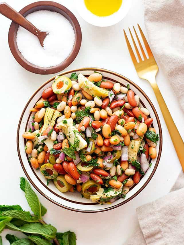 Three bean salad Mediterranean style.