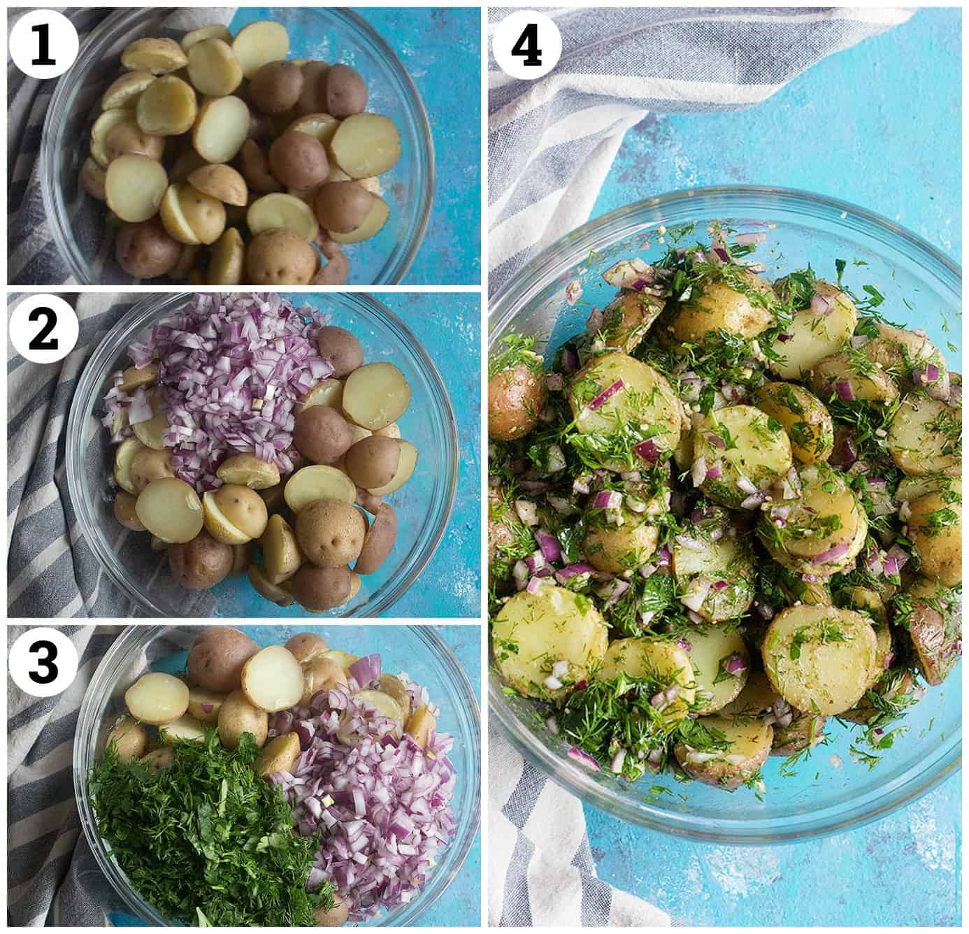 boil the potatoes, add the onion, add the herbs and the dressing.