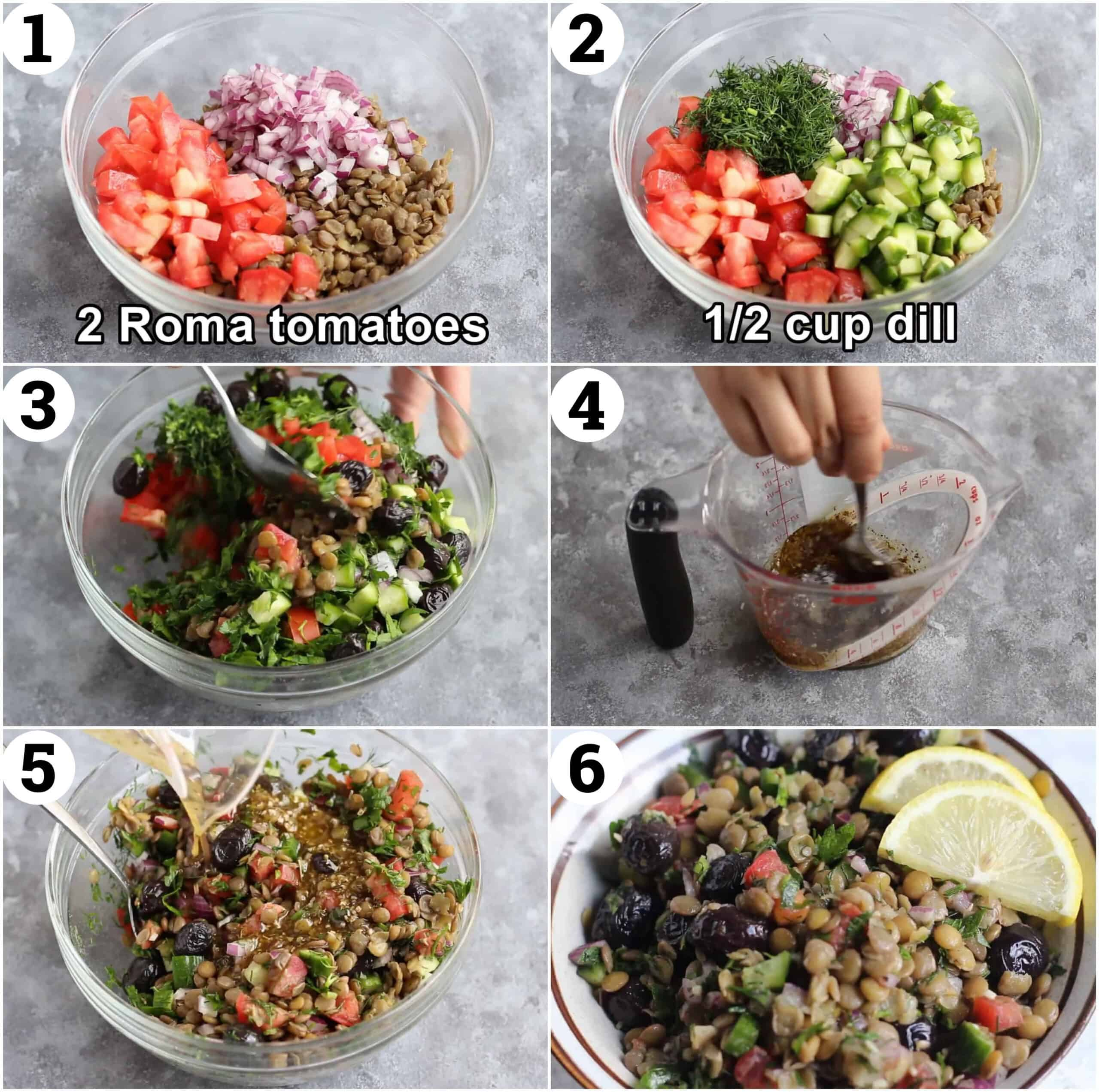 Cook the lentils then add tomatoes and onions. Add dill and cucumbers and toss. Make the dressing and pour over the salad.
