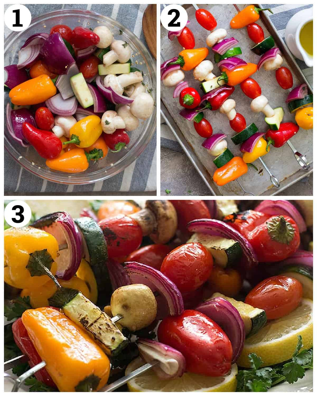 marinate the veggies and thread them on skewers then grill.