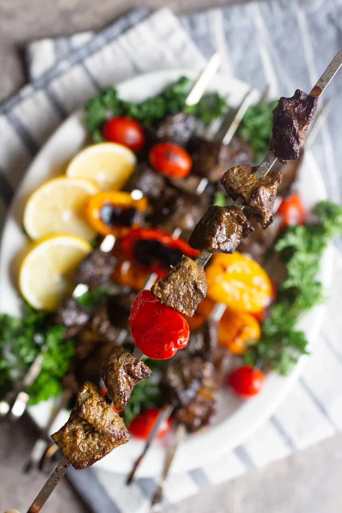 Close up shot of a grilled beef skewer
