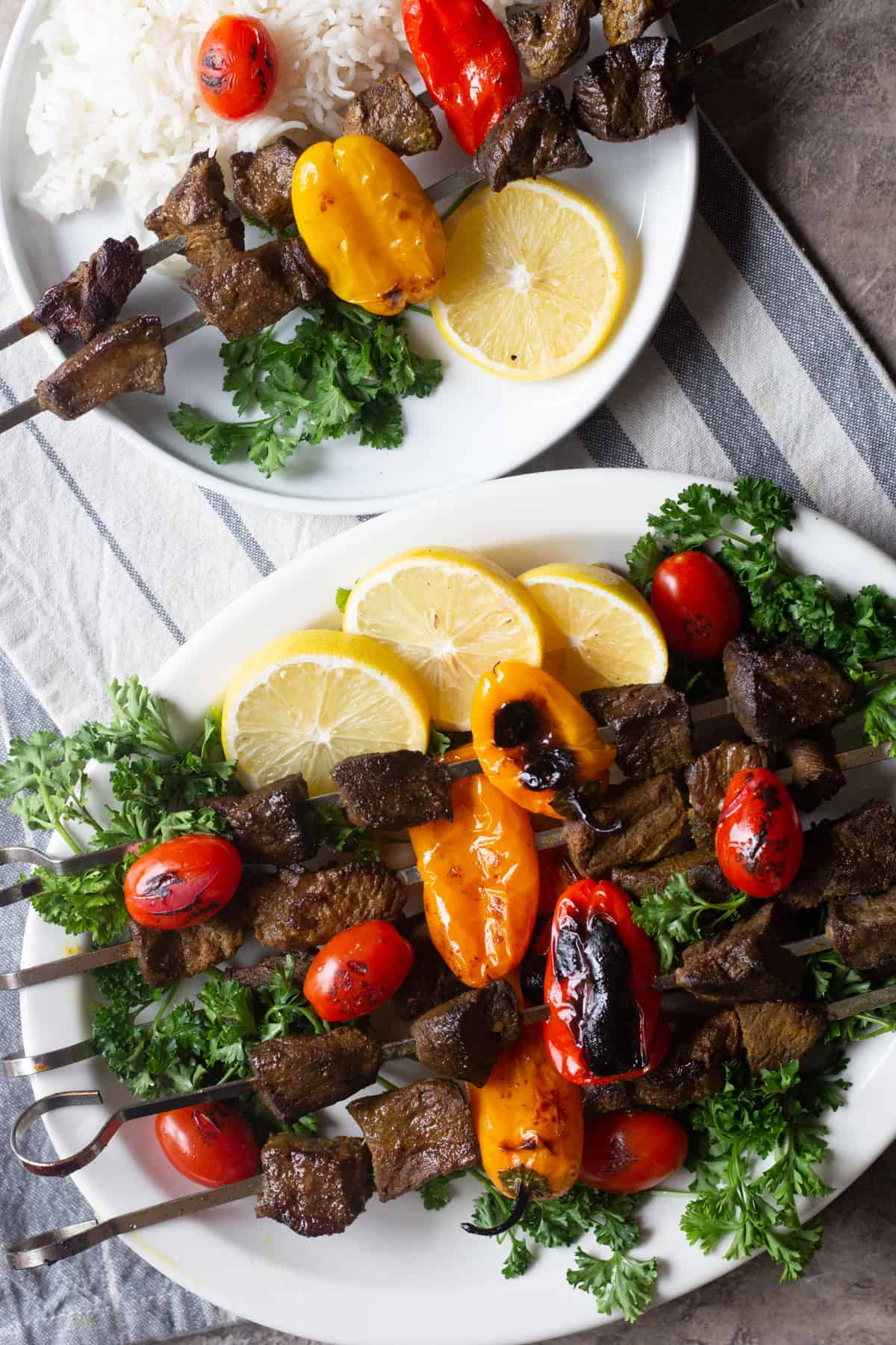 Beef Shish kabobs come together in a short time and you can serve them with different sides such as Mediterranean oven roasted vegetables or Mediterranean salad.