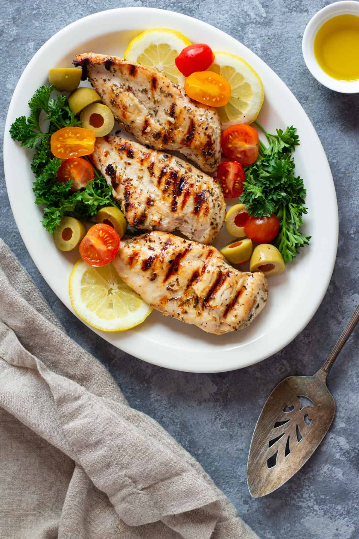 Grill the marinated chicken very well on each side and make sure it's fully cooked before serving.