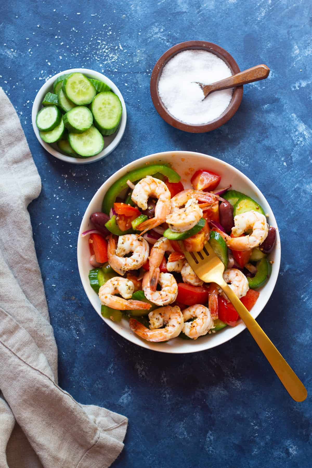 A delicious no mayo Greek shrimp salad recipe that's ready in only 20 minutes. This healthy shrimp salad is made with fresh ingredients and is perfect for a light lunch.
