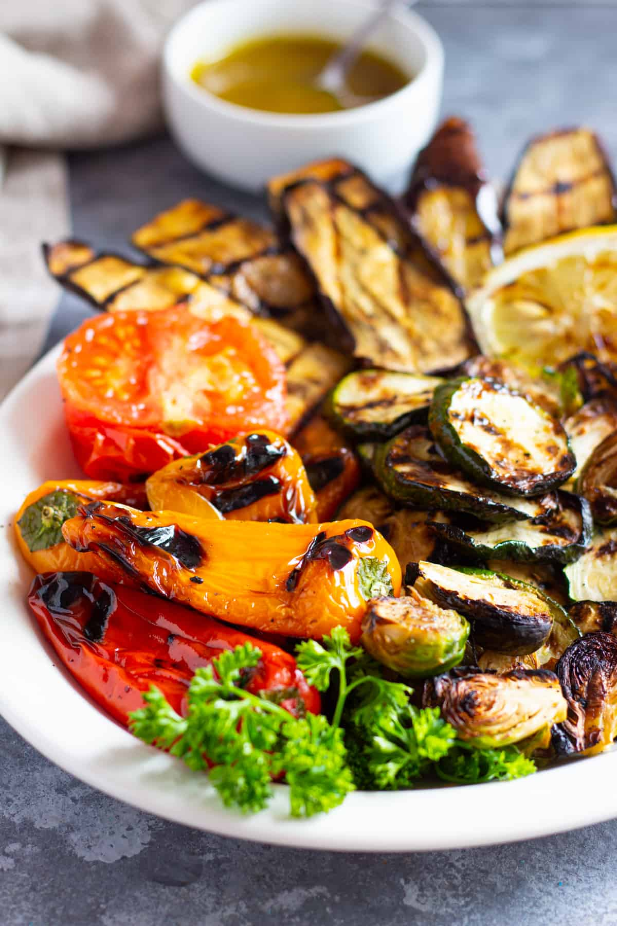 Close up shot of vegetables on a platter.