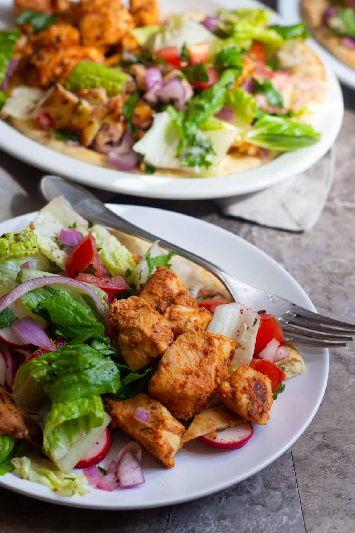 Serve chicken shish with salad and pita bread.
